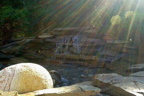 kaskada oczko wodne woda w ogrodzie